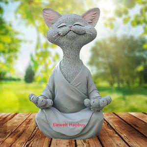 Meditation Statue Katze Statue 18cm Yoga Katze Tierfiguren Deko Harz Meditation Yoga Figuren Ornament Skulptur Dekor für Drinnen und draußen (L)
