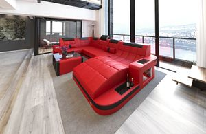 Wohnlandschaft Wave Leder, Farben:rot-schwarz, Material:Echt-/Kunstleder Mix, Sofa Ausrichtung Ottomane:Rechts - vor dem Sofa stehend, Bettfunktion:ohne Bettfunktion