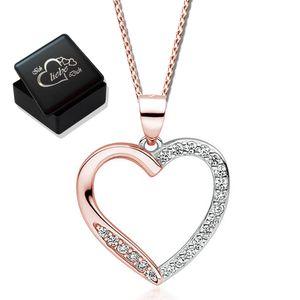 Halskette Herz echt 925 Sterling  Silber Rosegold mit Zirkonia Anhänger für Frauen Damen Kette mit Herz 925er Herzkette 45cm K866 + V8