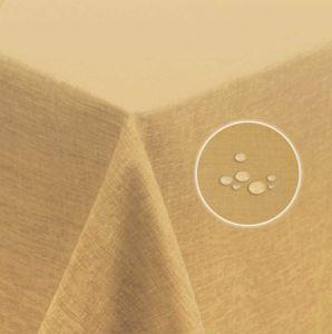 Tischdecke 130x260 cm beige sand eckig Leinenoptik wasserabweisend beschichtet Mitteldecke