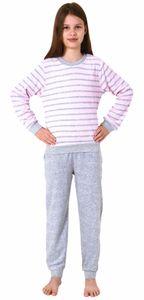 Mädchen Frottee Pyjama langarm mit Bündchen Schlafanzug mit Herz - Motiv - 65498, Farbe:rosa, Größe:134-140
