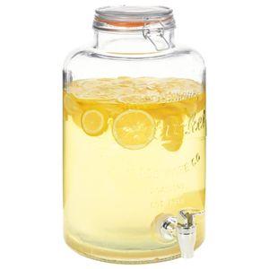 Küchenwaren- Wasserspender Getränkespender XXL mit Zapfhahn Transparent 8 L Glas