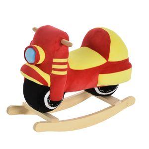 HOMCOM Kinder Schaukelpferd Baby Schaukeltier Motorrad mit Motorrad Sound, Schaukel Schaukelspielzeug Haltegriffe für 18-36 Monate Plüsch Rot+Gelb 60x25.5x48 cm