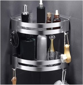 Duschregal Eckregal - Bad Duschwanne mit 2 Haken - Duschkorb - Ohne Bohren - Raum Aluminium, Poliert (Dreieck) -2 Pack