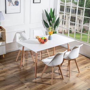 Dora Esstisch Pausentisch (Weiß) 140x80x75cm+4(Weiß) Stühlen Esszimmer Essgruppe Tisch