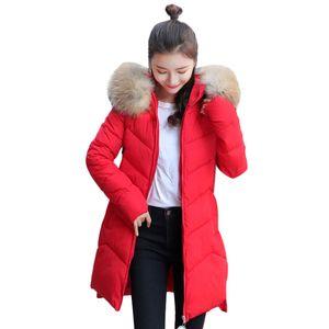 Damen Oberbekleidung Pelz Kapuzenmantel Lange Baumwolle gepolsterte Reißverschlussjacken Taschenmäntel Größe:L,Farbe:Rot