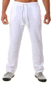 Young & Rich Herren Leinenhose Sommerhose 100% Leinen mit Kordelzug Straight Regular Fit S4103 , Grösse:3XL, Farbe:Weiß