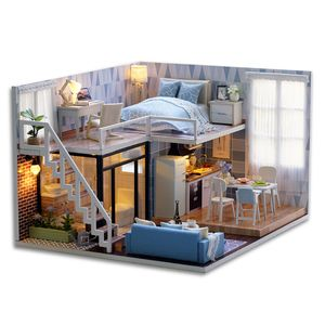 DIY Miniatur Loft Dollhouse Kit lebensechte Mini 3D Holzhaus Zimmer handgemachtes Spielzeug mit Möbel LED-Leuchten Valentinstag Weihnachten Geburtstagsgeschenk