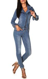 Damen Jeans Anzug Overall Biker Jumpsuit Hosenanzug Einteiler Asymmetrisch, Farben:Blau, Größe:38