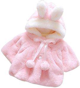 Baby-Winter-Warmer Mantel Rabbit Ears verdickte Plüsch-Jacken-Mantel Hoodies Oberbekleidung für 0-9 Monate Mädchen - Pink, 70cm