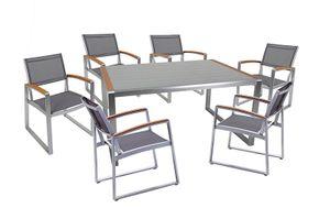 7-teilige Tischgruppe Gartengruppe Sitzgruppe Garten Tisch Stuhl Aluminium