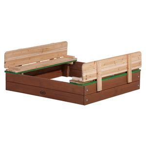 AXI Sandkasten Ella aus Holz mit Deckel | Sand Kasten mit Sitzbank & Abdeckung für Kinder in Braun & Grün | 100 x 95 cm
