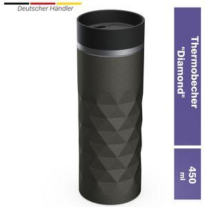"""Premium Edelstahl Thermobecher 450ml """"Diamond"""" (silber) 100% Auslaufsicher Isolierbecher Kaffeebecher To Go Autobecher Travel Mug - Isolierflasche Doppelwandig, Vakuum isoliert"""