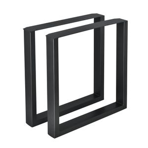 [en.casa]® 2x Tischgestell - 70 x 72cm Schwarz - Esstischgestell Tischuntergestell Tischkufen Tischbein