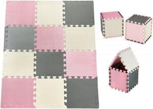 Krabbelmatte Puzzelmatte mit Rand Spielmatte für Babys und Kleinkinder 120 x 90 x 1.2 cm + Wasserdicht - 12 Teile Rosa