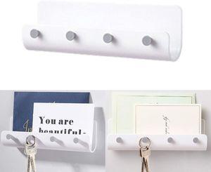 Schlüsselbrett mit Ablage – wandmontierte Schlüsselleiste mit Briefablage aus Kunststoff für Schlüsseln, Briefen, Prospekten usw