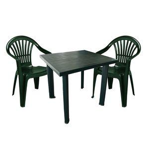 Sitzgarnitur Kunststoff Gartengarnitur 3-teilig Kunststoff Grün
