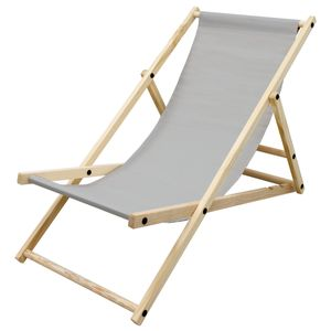 ECD Germany Liegestuhl klappbar aus Holz, 3 Liegepositionen, bis 120 kg, Hellgrau, Sonnenliege Gartenliege Relaxliege Strandliege Liege Strandstuhl Klappstuhl, für den Garten, Terrasse und Balkon