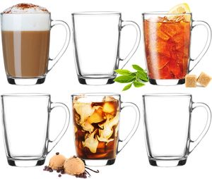 Kaffeegläser Teegläser mit Griff Set 6 Teilig Coffee 250ml (max. 320ml) Frühstücksgläser Trinkgläser
