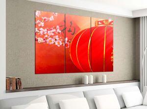Leinwandbild 3tlg 120cmx100cm Kirsche rot Baum Blumen Lampe China japanisch Garten Bilder Druck auf Leinwand Bild Kunstdruck mehrteilig Holz 9YA2990, 3 Tlg 120x100cm:3 Tlg 120x100cm