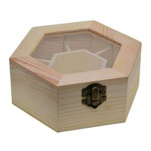 Hexagon Unvollendet Holzkiste mit Deckel für Aufbewahrung Schmuckkasten Holzkästchen
