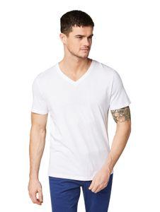TOM TAILOR Herren T-Shirt Doppelpack V-Neck Basic White 3XL