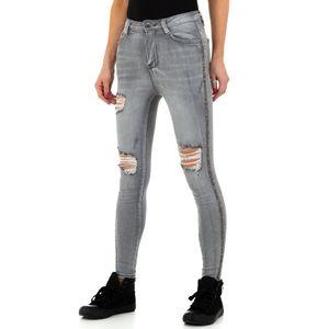 Ital-Design Damen Jeans High Waist Jeans Hellgrau Gr.s/36