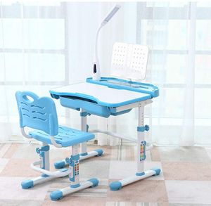 Kindertisch Kinderschreibtisch  mit Lampe   mit Stuhl Kindermöbel höhenverstellbar neigungsverstellbar Schreibtisch mit Schublade Jugendschreibtisc (Blau)