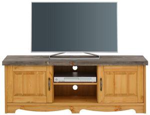 Lowboard TV-Board TV-Element Fernsehtisch TV-Schrank 148cm Kiefer Massiv  natur grau