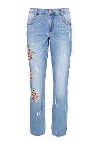 Linea Tesini Damen Designer-Boyfriendjeans mit Stickerei, blau, Größe:42