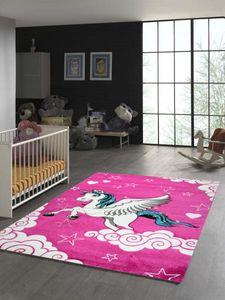 Kinderteppich Einhorn mit Pink Creme Türkis Größe - 140x200 cm