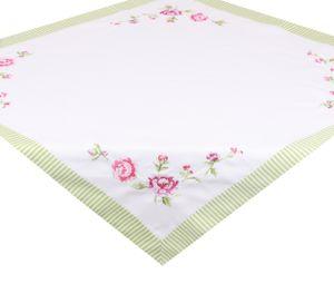 Betz Mitteldecke Tischdecke mit Stickerei - ROSE - Größe: 85x85 cm Farbe weiß mit grün gestreiftem Saum