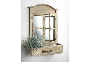 Deko-Fenster mit Spiegel bepflanzbar, 1 Gefäß mit Folie ausgeschlagen