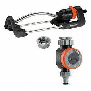 GARDENA Viereckregner Aqua S + Bewässerungsuhr grau/orange
