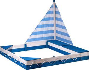 """dobar Sandkastenschiff """"Maritim"""" mit Segel und zwei Spielzeugkisten, 138,5 x 124 x 115,5 cm, Blau/Weiß"""