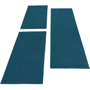 Bettumrandung Kurzflor Teppich 3 teilig Uni Läuferset Einfarbig Blau farbe, Farbe:Türkis, Bettset:2 mal 60x100 + 1 mal 80x150
