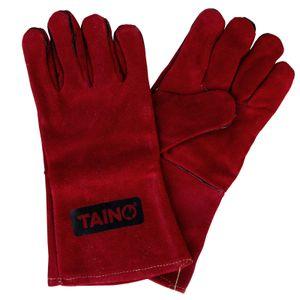 TAINO Grillhandschuhe Leder Hitzebeständig Kaminhandschuhe Feuerfest Ofenhandschuhe mit Fingern Universalgröße Rot