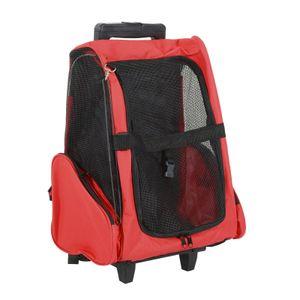 PawHut Hundetrolley Transporttasche Tragetasche für Tiere 2in1 Rucksack und Trolley 36 x 30 x 49-99 cm Rot