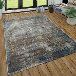 Wohnzimmer-Teppich, Kurzflor Im Used Look, Modernes Design In Grau, Blau, Grau, Grösse:120x170 cm
