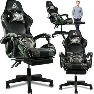 Military Gaming Stuhl mit Kopfstütze, Fußstütze Racing Bürostuhl Drehstuhl Sportsitz Schreibtischstuhl Gaming-Stuhl, bis zu 150kg