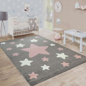 Teppich Kinderzimmer Kinderteppich Große Und Kleine Sterne In Grau Rosa, Grösse:120x170 cm