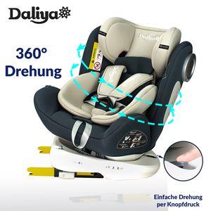 Daliya Sedion Kinderautositz 0-36KG 360° Grau, mitwachsender Autositz, Kindersitz GR. 0+1+2+3, Isofix Fix, Top Tether, 5 Punkt Sicherheitsgurt, incl. Sonnenverdeck, 2x Isofix Einbauhilfe……