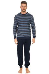 Edler Herren Frottee Schlafanzug lang mit Bündchen Pyjama in Streifenoptik 202 101 13 708, Farbe:marine, Größe:50