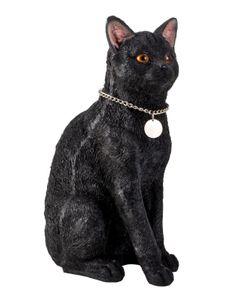 Schwarze Katze Dekofigur H 40 cm