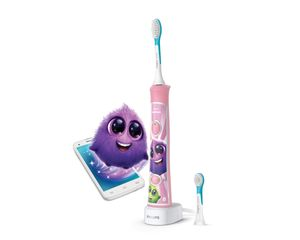 Philips Sonicare For Kids Elektrische Schallzahnbürste mit integriertem Bluetooth®, Kinder, Ultraschall-Zahnbürste, 62000 Bewegungen pro Minute, Pink, Akku, Integrierte Batterie