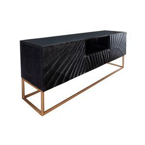 Massives TV Lowboard SCORPION 160cm schwarz Mangoholz aufwendige 3D Schnitzereien Sideboard TV Schrank