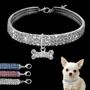 Kristall Hundehalsband Halsband Diamant Welpen Halskette Haustiere Hunde Zubehör, Länge: 20cm, verlängerte Kette:5cm,Weiß