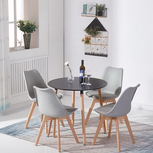 Esstisch schwarz mit 4 Esszimmerstühle Grau,skandinavischen Essgruppe 80x80x70cm für Esszimmer Essgruppe