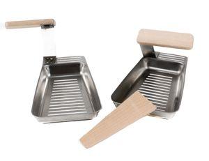 2 Grillpfannen, Heber mit Holz-Griff, Holz-Spatel, Edelstahl, Pfanne für kleineres Grillgut