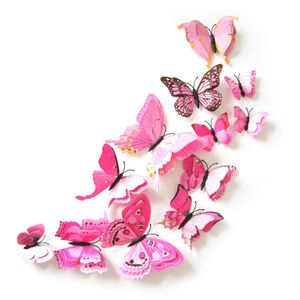 Oblique Unique 3D Schmetterlinge 12er Set Wandtattoo Wandsticker Wanddeko - rosa